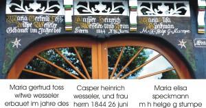 Inschrift am Torbogen des Hofs Wesseler an der Lauheide in Küingdorf/Kerssenbrock, Melle